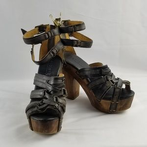 Bed Stu Wooden Platform Gladiator Leather Sandal